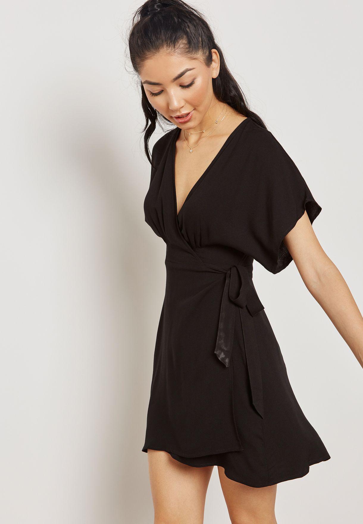 02e198e986 Shop Forever 21 black Tie Waist Wrapped Dress 254835 for Women in ...