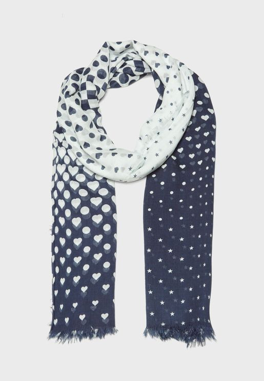 Hearts Degrade Print Scarf