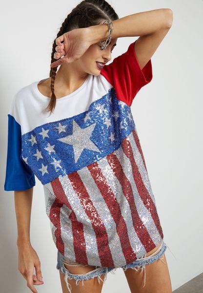 Stars & Stripes Sequin T-Shirt