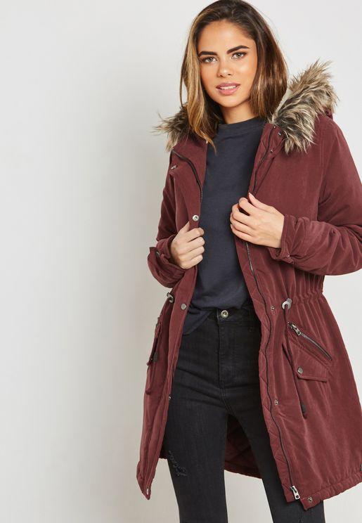 Faux Fur Hooded Longline Jacket