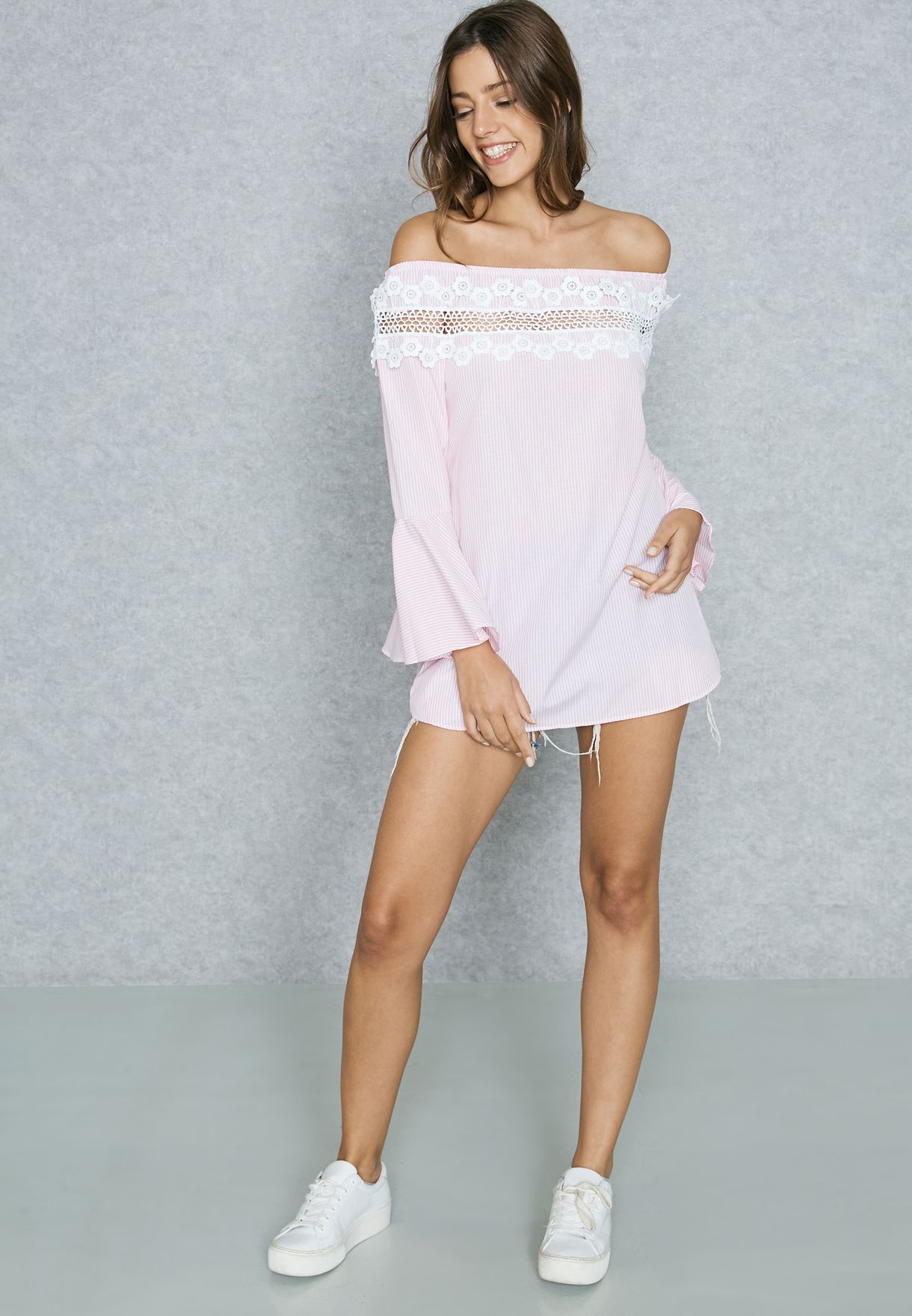 Checked Lace Insert Bardot Top