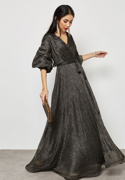 Puffed Sleeve Wrap Front Plisse Dress