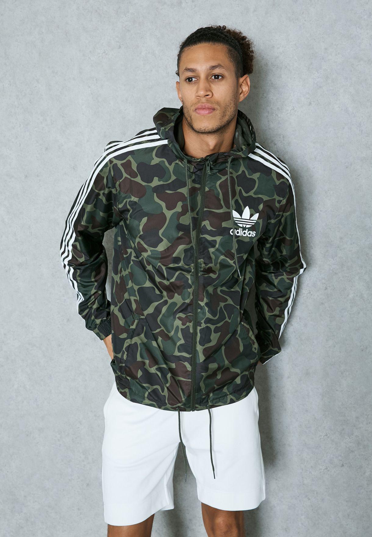 d90ae2d98b172 Shop adidas Originals prints Camo Windbreaker Jacket BJ9997 for Men ...