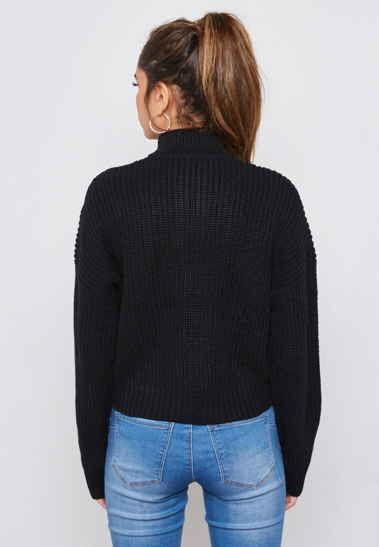 Cable Knit Pull-Ring Sweater
