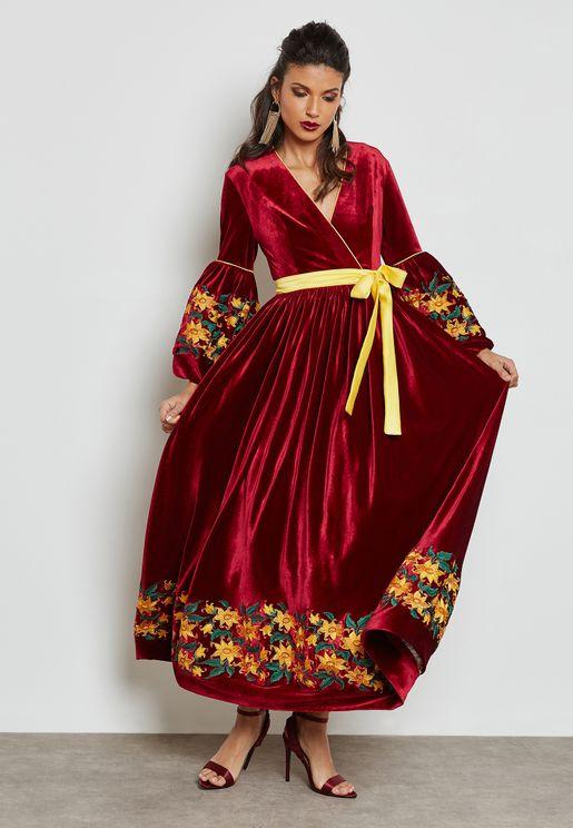 Embroidered Puffed Sleeve Velvet Dress