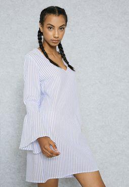 Striped Bell Cuffed Dress