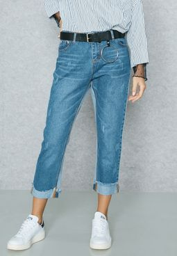 Colourblock Ripped Straight Jeans