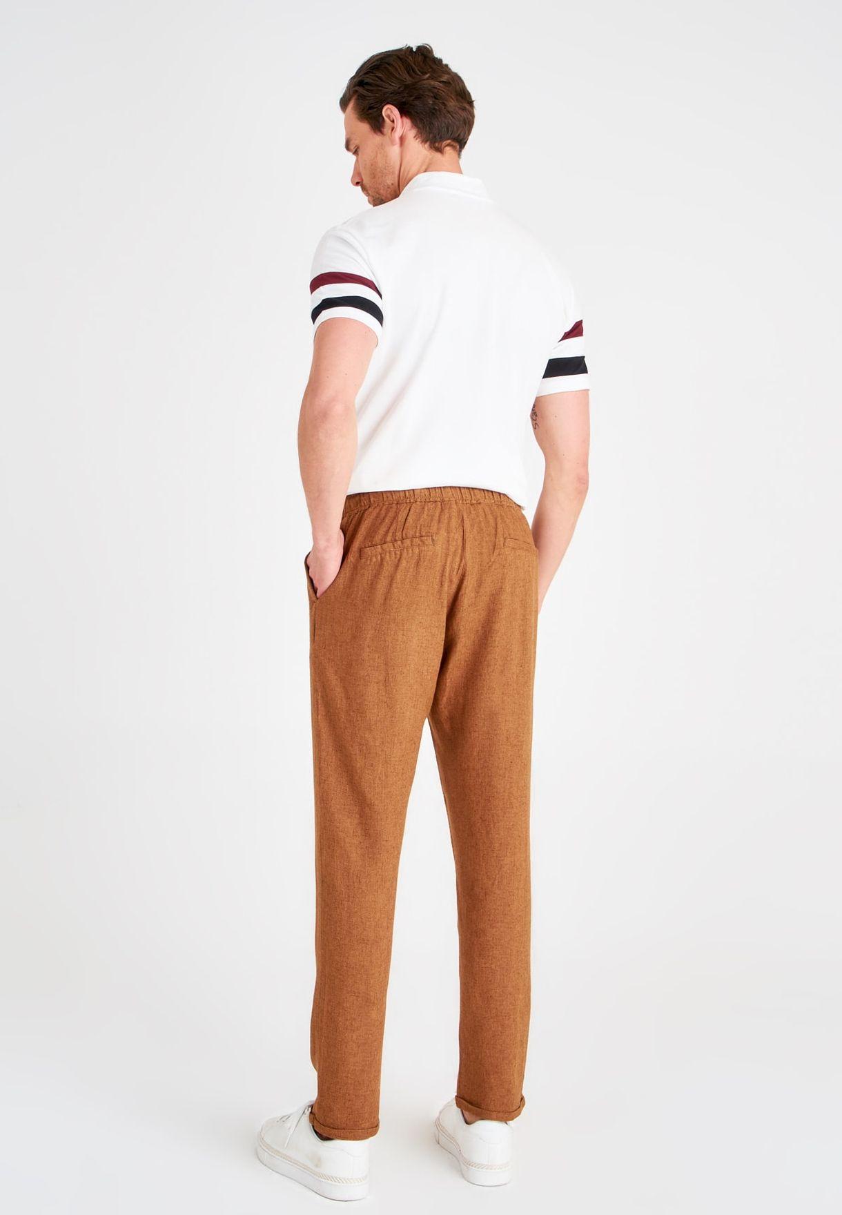 Drawstring Roll Hem Trousers