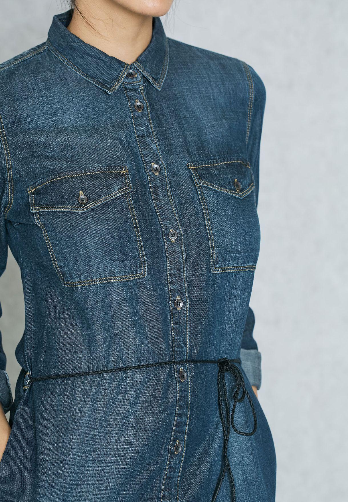فستان جينز باربطة