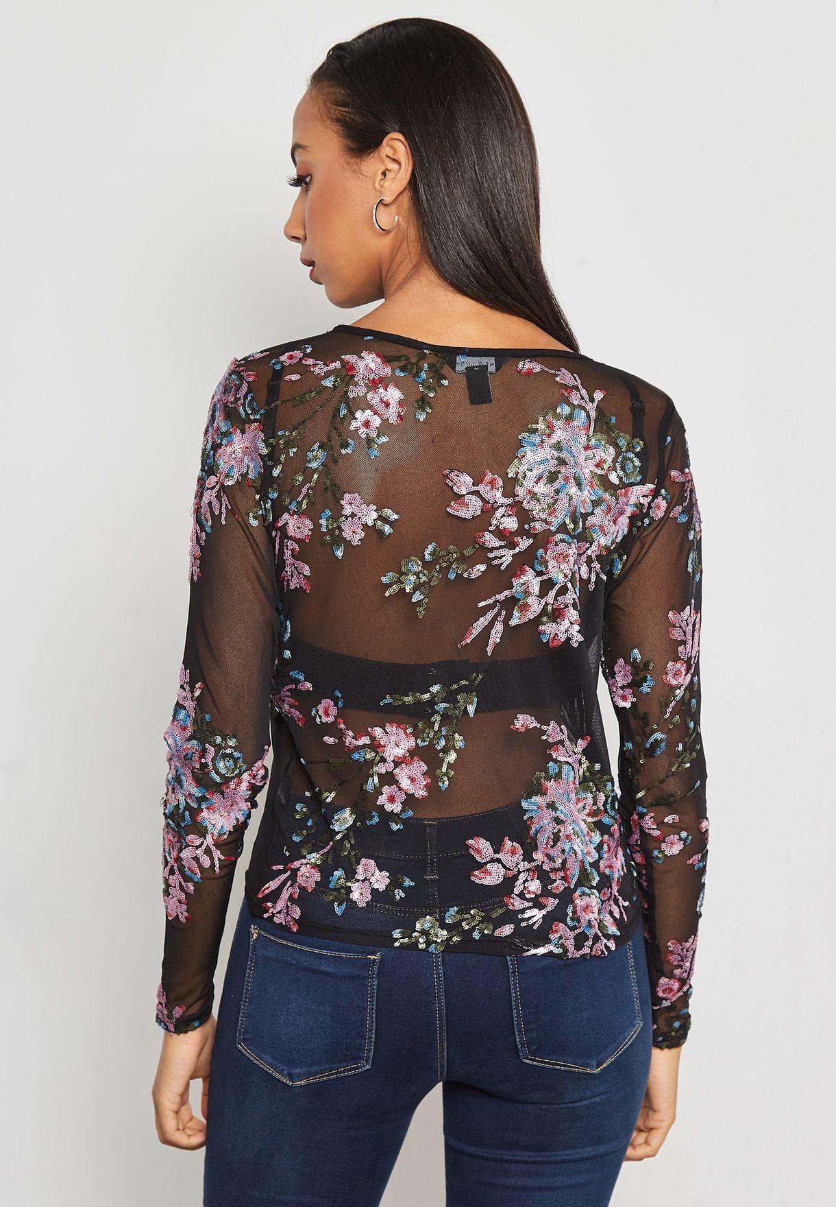 c7b46208b9b68 Shop New Look multicolor Sequin Mesh Top 548277309 for Women in ...