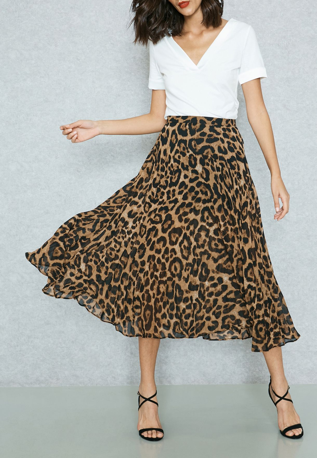 e7879f01c3 Shop Bardot animalprint Leopard Pleat Midi Skirt 38325SB for Women in UAE -  BA721AT20XRZ