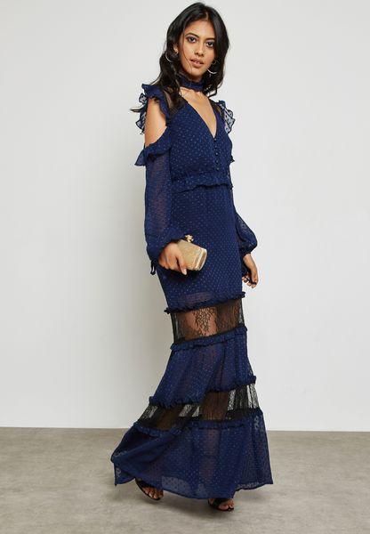 Cold Shoulder Plunge Maxi Dress