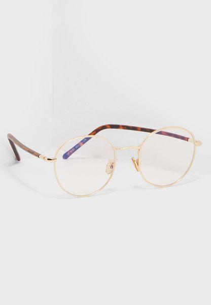 نظارة شفافة بشكل دائري