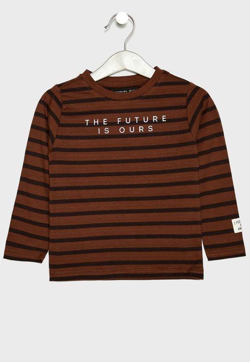 Kids Striped Slogan T-Shirt