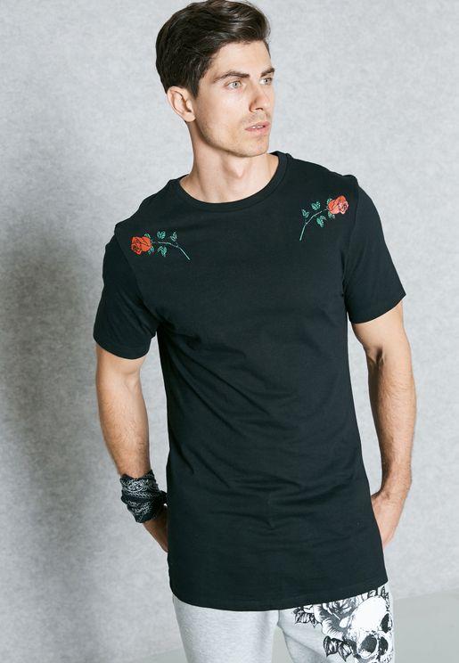 Rose Print Crew Neck T-Shirt