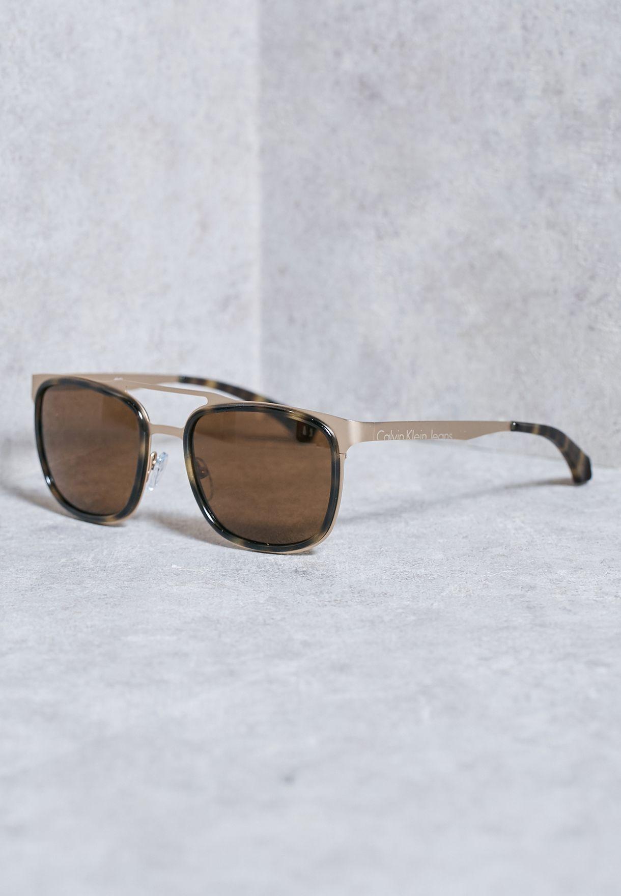c48fe7a6f Shop Calvin Klein Jeans prints Metal Bridge Sunglasses CKJ136S-204 ...