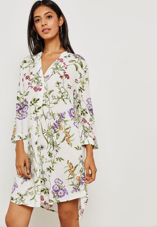 Floral Printed Shirt Dress