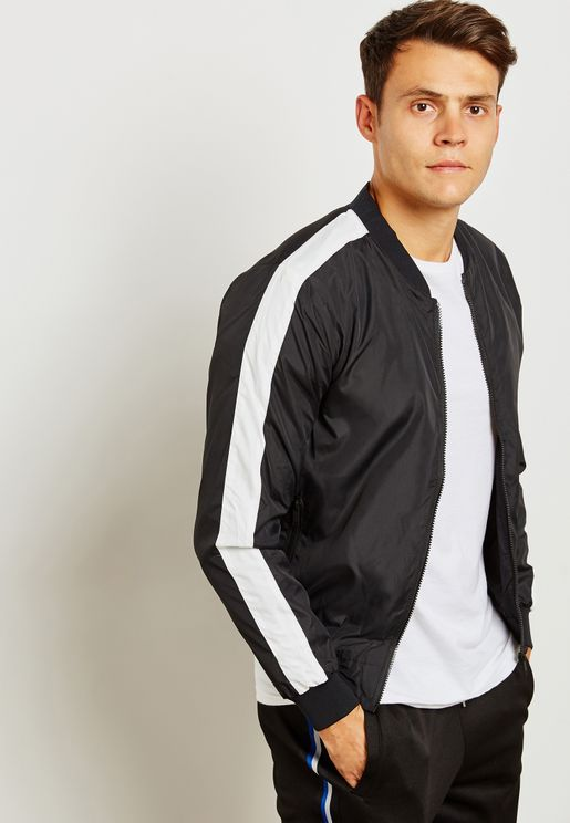 Side Stripe Bomber Jacket