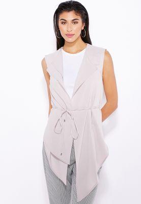Miss Selfridge Asymmetric Tie Belt Waistcoat