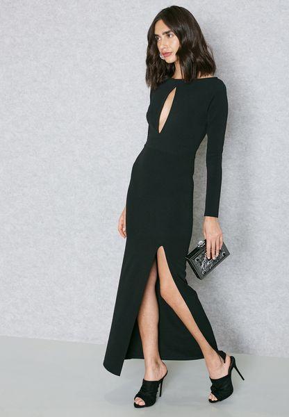 Keyhole Front Slit Maxi Dress