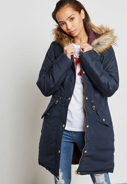Faux Fur Hooded Reversible Parka Coat