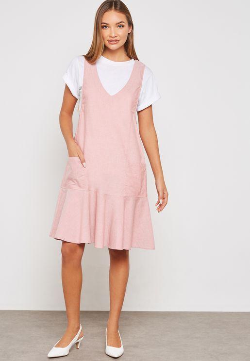 Plunge Pleated Dress