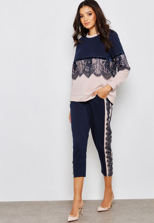 Side Lace Paneled Pants