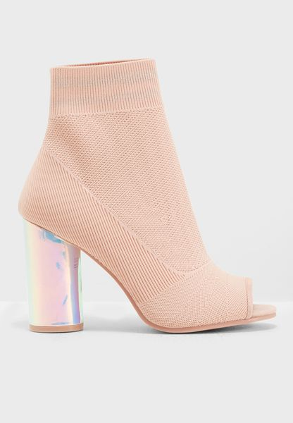 Flared Heel Choked Up Knit Peep Toe