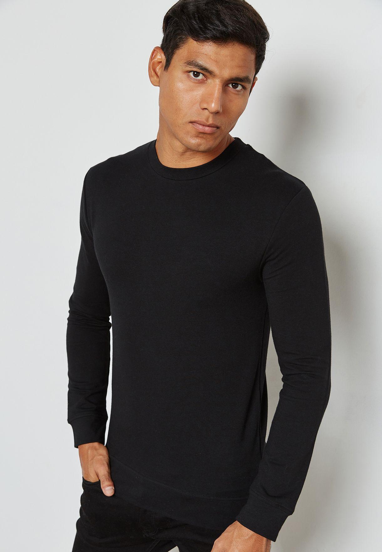 c6ce4397 Shop Topman black Ultra Muscle Fit Sweatshirt 71L10RBLK for Men in ...