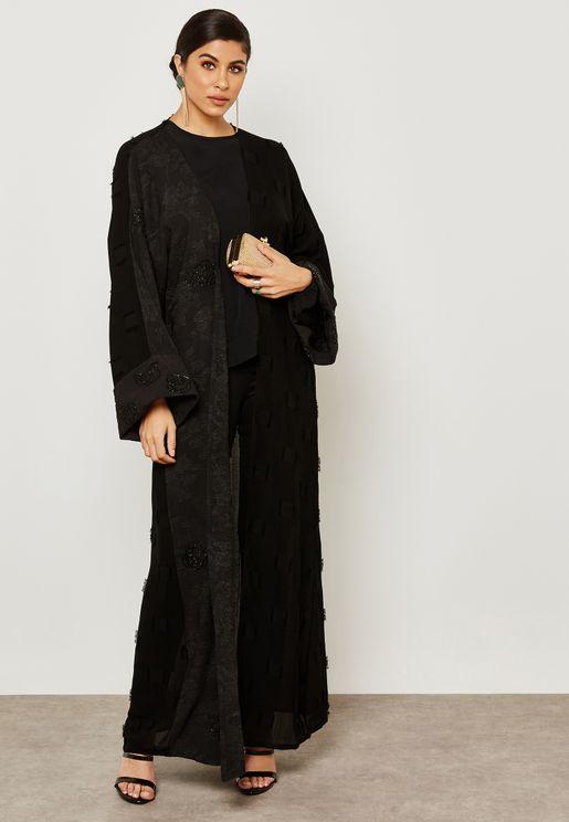 Handwork Ruffle Half & Half Abaya