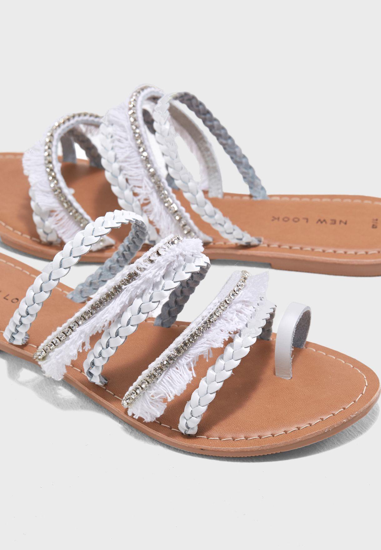Fringe Multi Strap Sandals