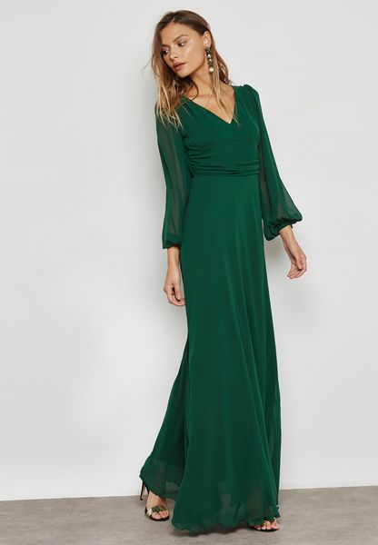 Shop Ella Limited Edition green Puffed Sleeve Detail Dress 2804 for Women  in Saudi - EL464AT20LWD
