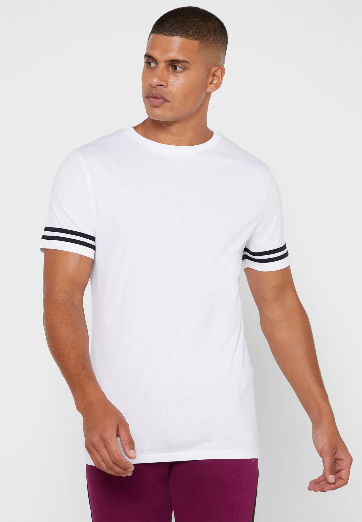 Arm Striped Crew Neck T-Shirt