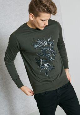 Dragon Embroidered Sweatshirt