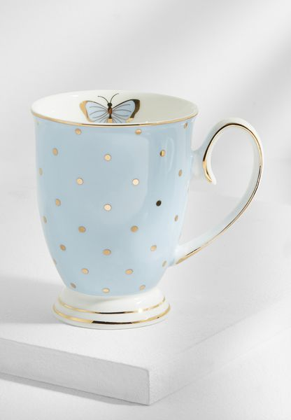 Miss Darcy Butterfly Mug Powder Blue With Spots
