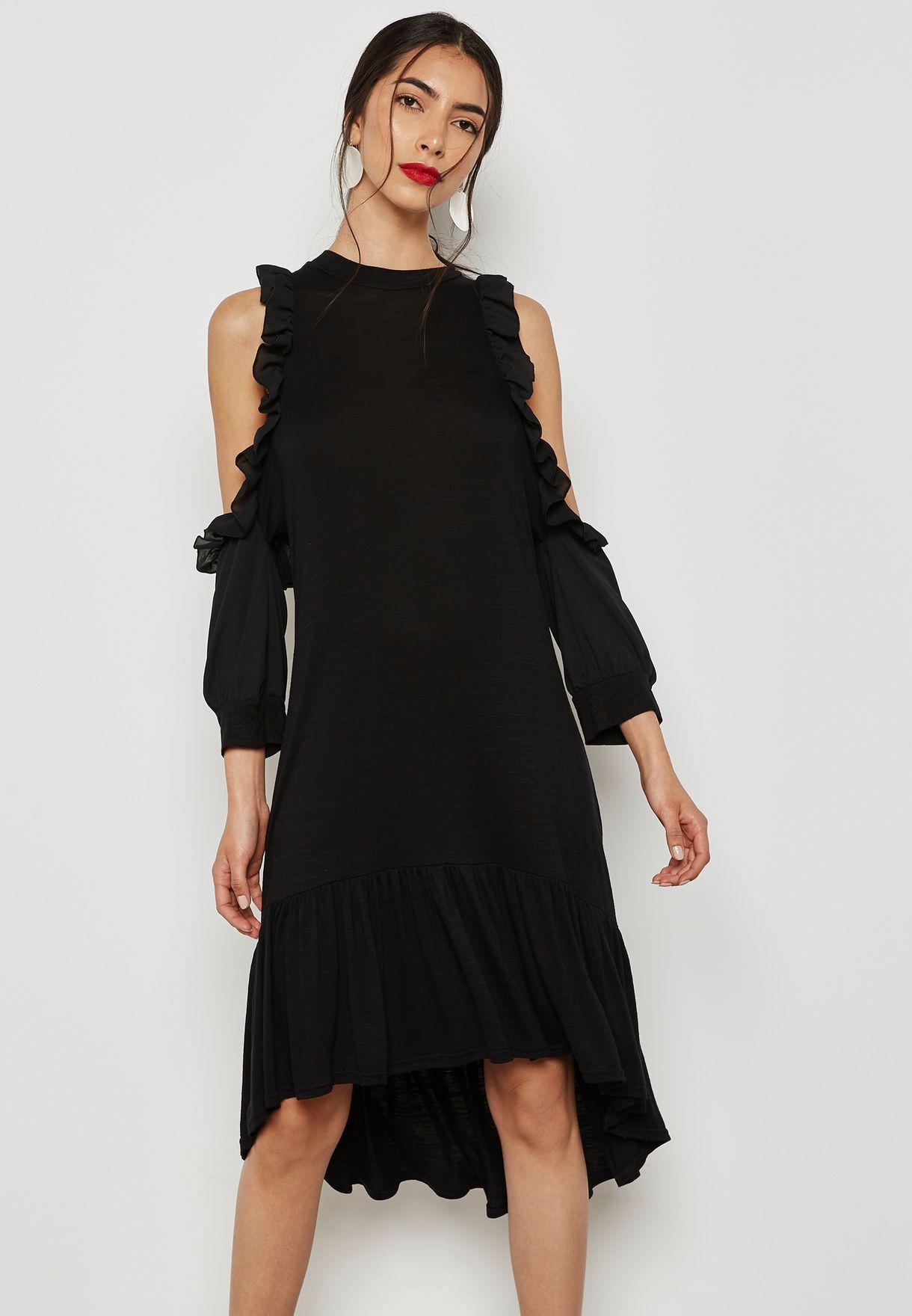 ca49fbc7ea8a66 Shop Lost Ink black Cold Shoulder Frill Dress 1.00112E+15 for Women ...