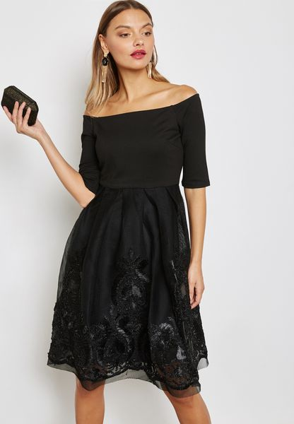 Mesh Bardot Dress