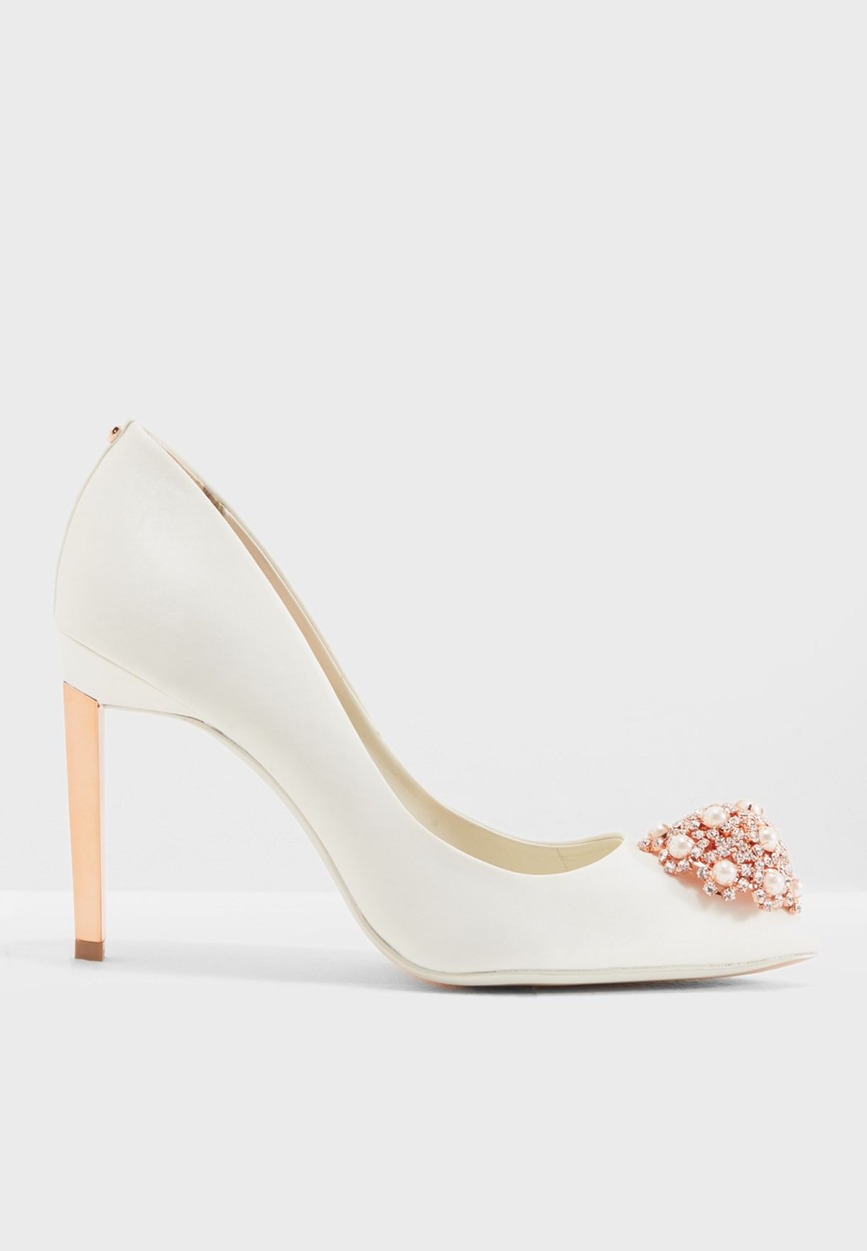 Ted Baker white Peetch Glam Brooch Pump