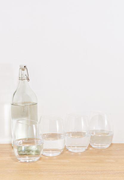 Set Of 4 Slanted Edge Short Tumbler Glasses