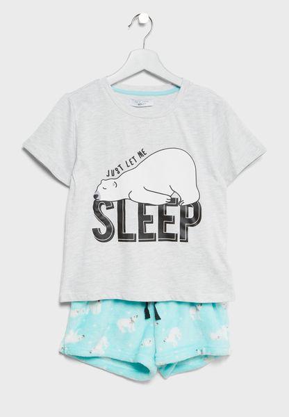 Teen Slogan T-Shirt + Shorts Set