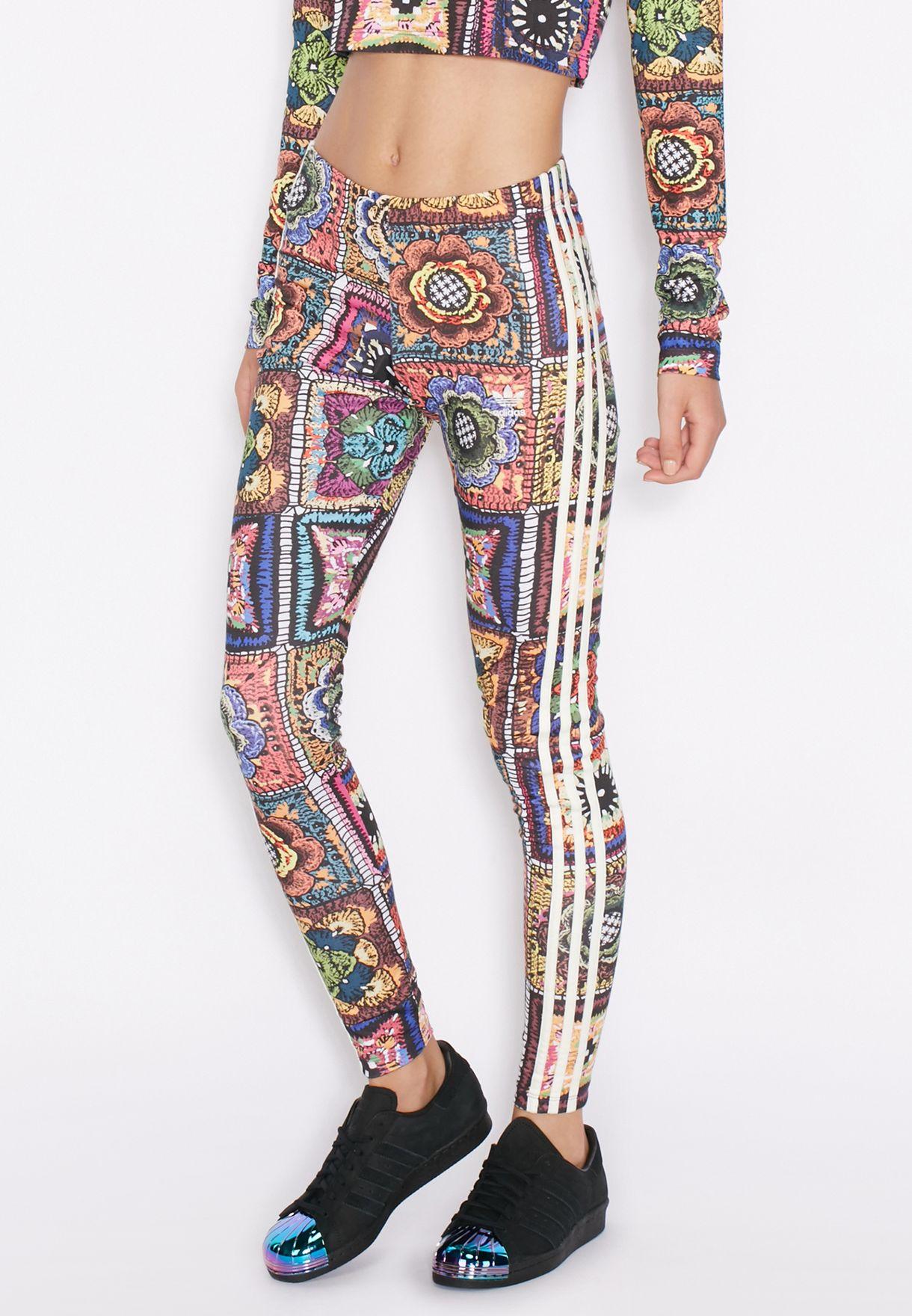 venta de descuento códigos de cupón Tienda Shop adidas Originals prints Crochita Leggings AY6845 for Women in ...