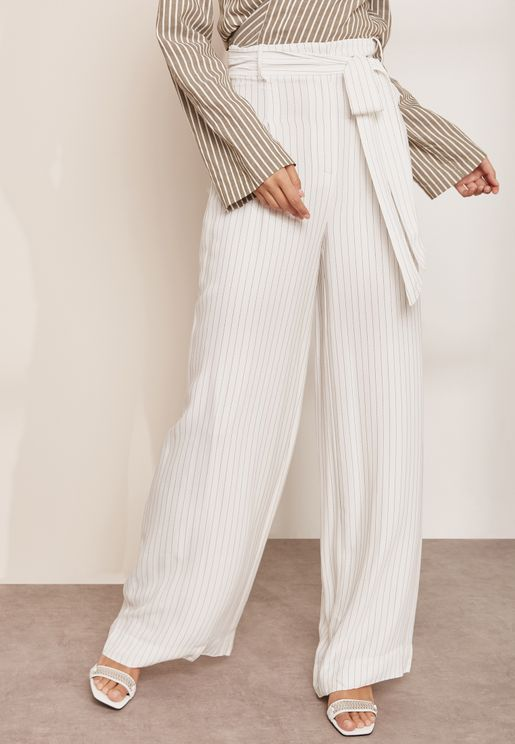 Pascal Wide Leg Belted Striped Pants