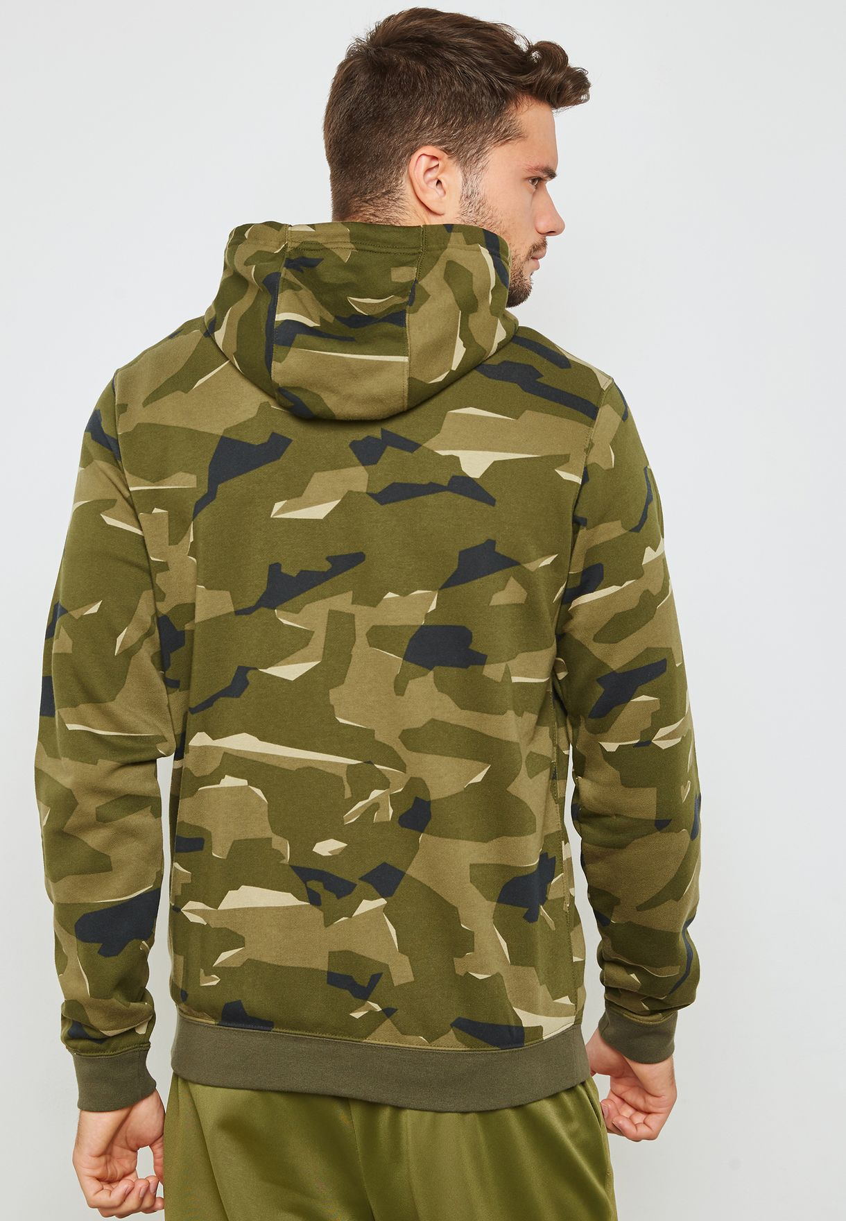 Bravepe Men Drawstring Sport Camo Pocket Front Hooded Hoodie Sweatshirt