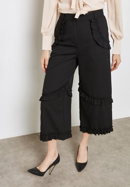 Ruffled Detail Wide Leg Pants