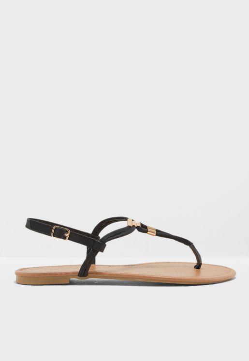 Black Metal Trim Flat Sandals
