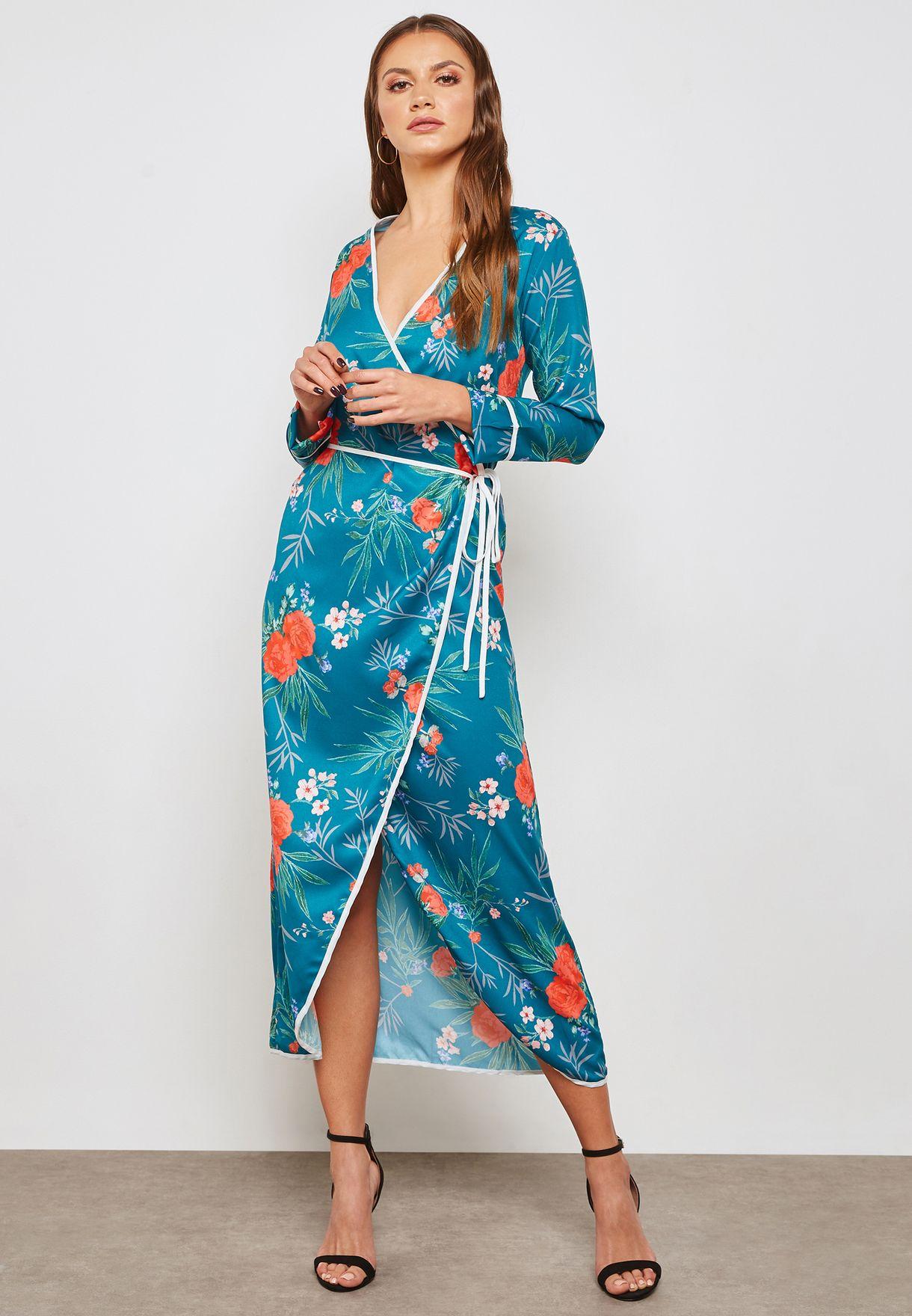 فستان مكسي ساتان بطبعات ازهار