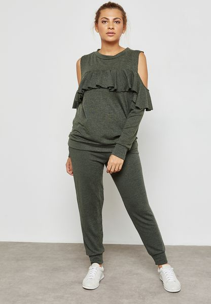 Ruffle  Cold Shoulder Joggers Set