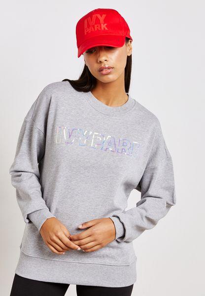 Cropped Holographic Logo Sweatshirt