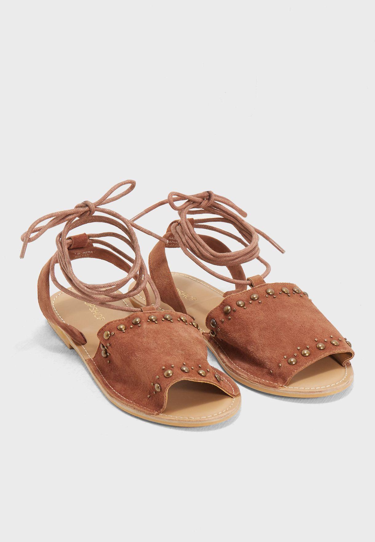d1e76d274 Shop Topshop browns Hope Tie Up Sandal 42H40LTAN for Women in Kuwait ...