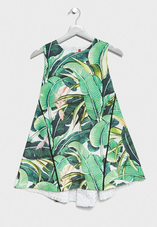 Teen Leaf Print Dress